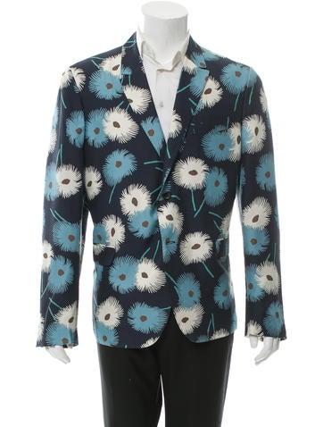 Valentino Floral Print Silk Blazer w/ Tags None