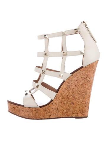 Valentino Rockstud Wedge Sandals None