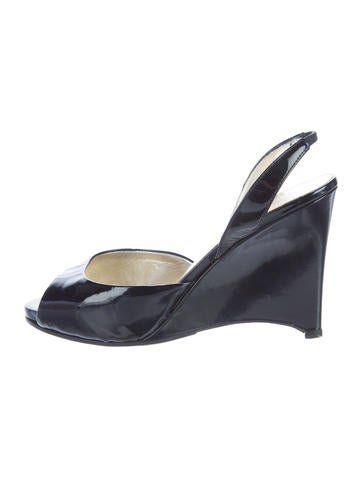 Valentino Patent Leather Slingback Wedges None