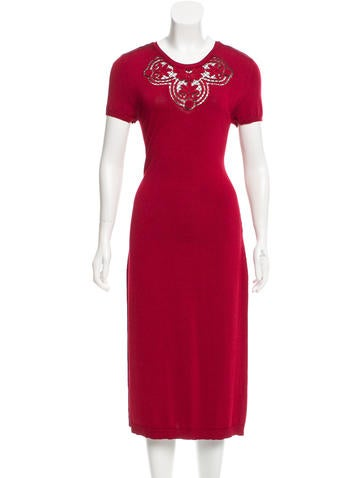 Valentino Embroidered Open Knit-Accented Dress None
