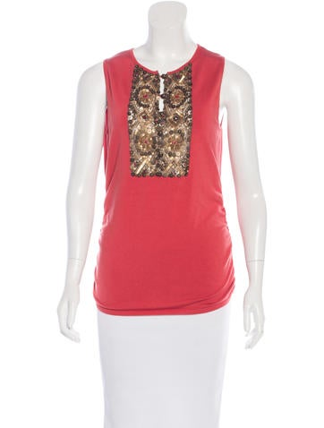 Valentino Embellished Sleeveless Top None
