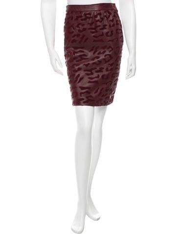 Valentino Leather Cheetah Skirt None