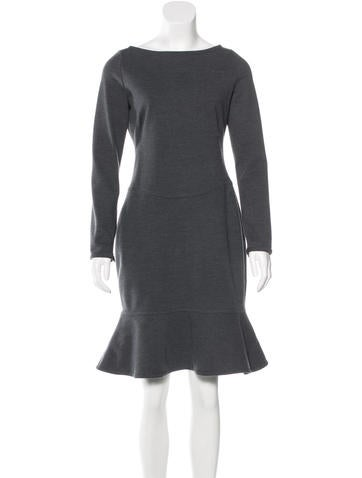 Valentino Long Sleeve Flounce Hem Dress None