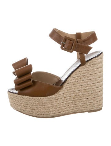 Valentino Leather Rockstud Wedges None