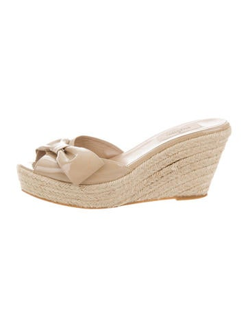 Valentino Bow-Embellished Espadrille Wedges None