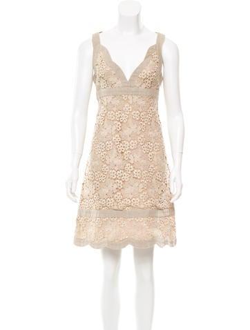 Valentino Guipure Lace A-Line Dress None