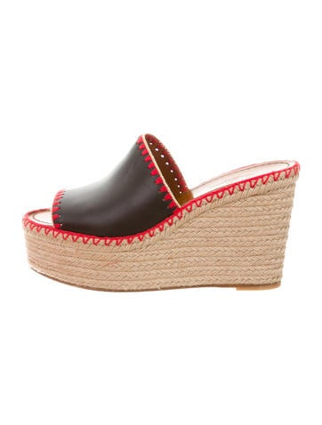 Valentino Leather Espadrille Wedges None