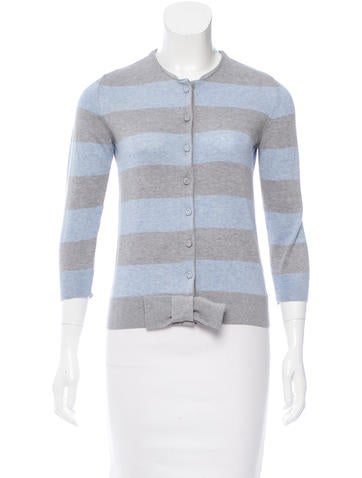 Valentino Striped Bow-Accented Cardigan None