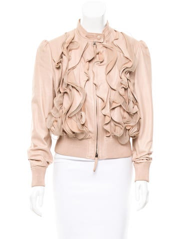Valentino Ruffle-Accented Leather Jacket