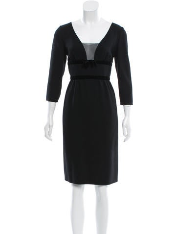 Valentino Velvet-Trimmed Wool Dress