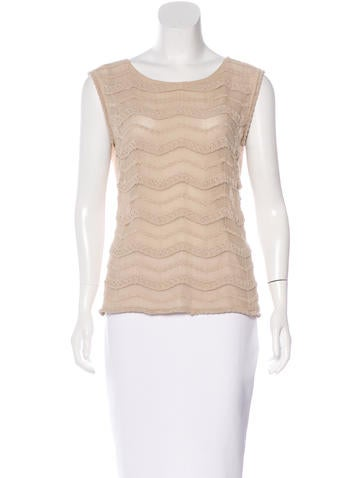 Valentino Crochet-Trimmed Sleeveless Top None
