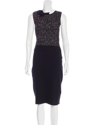 Valentino Sleeveless Tweed Knit Dress None