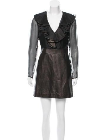 Valentino Silk & Leather Mini Dress None