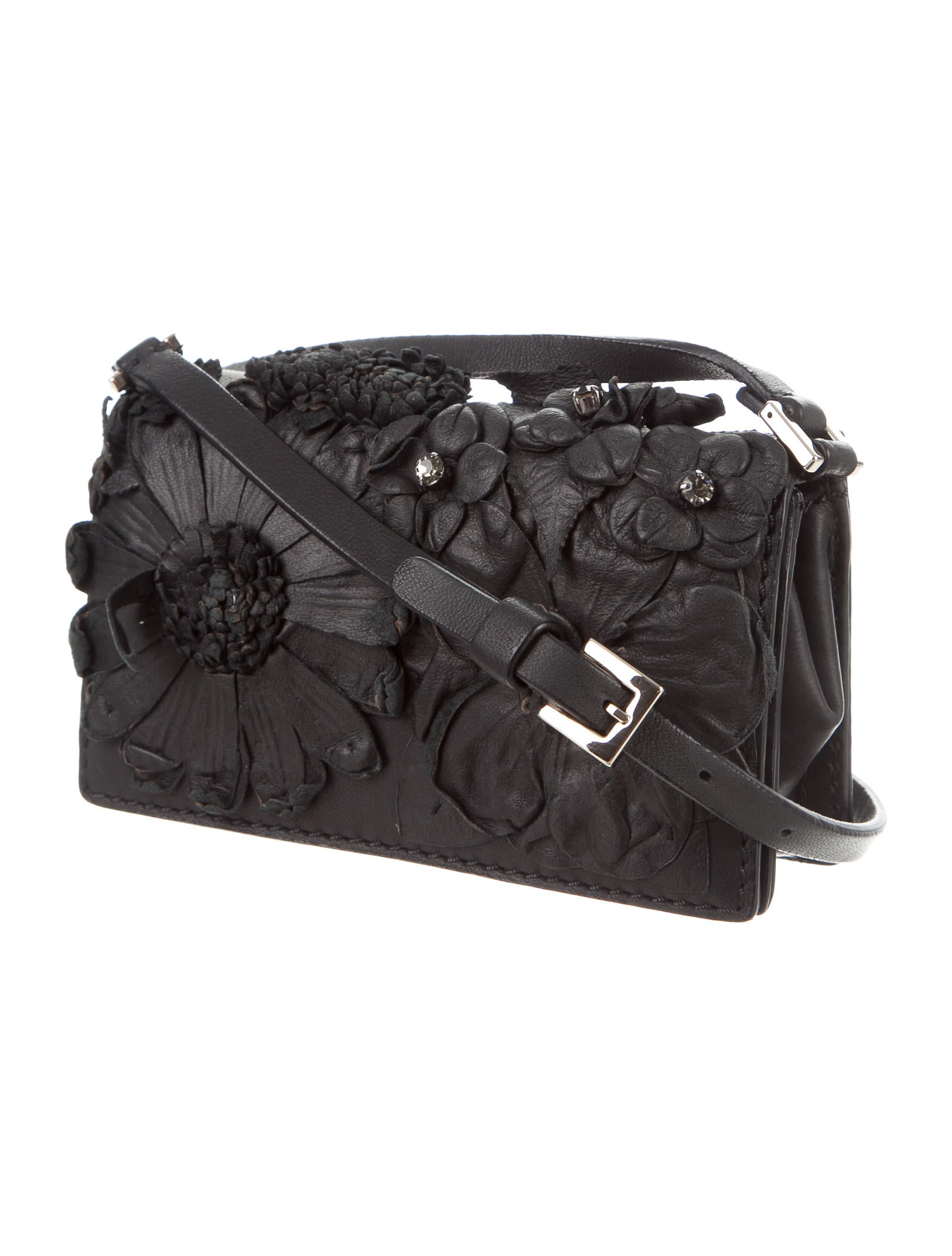 Valentino Floral-Embellished Leather Mini Crossbody Bag - Handbags - VAL56051 | The RealReal