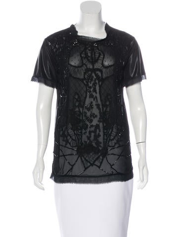 Valentino Embellished Lace-Trimmed Top None