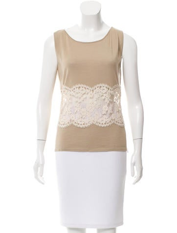 Valentino Lace-Accented Wool-Blend Top w/ Tags None