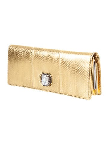 Coated Snakeskin Clutch