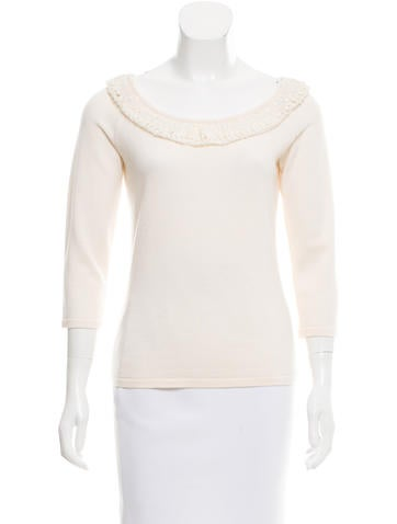 Valentino Sequin-Embellished Wool Top None