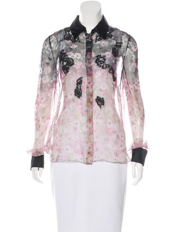 Valentino Lace-Trimmed Floral Top None