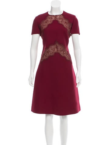 Valentino Lace-Paneled Sheath Dress None