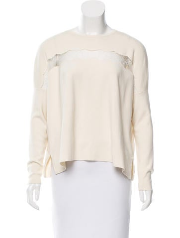 Valentino Lace-Accented Wool Sweater None