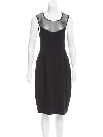 Valentino Silk-Accented Knit Dress None