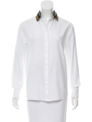 Valentino Feather-Trimmed Button-Up Top None