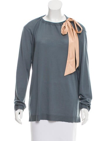 Valentino Wool Tie-Accented Top w/ Tags None