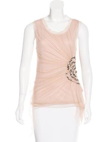 Valentino Embellished Sleeveless Top None