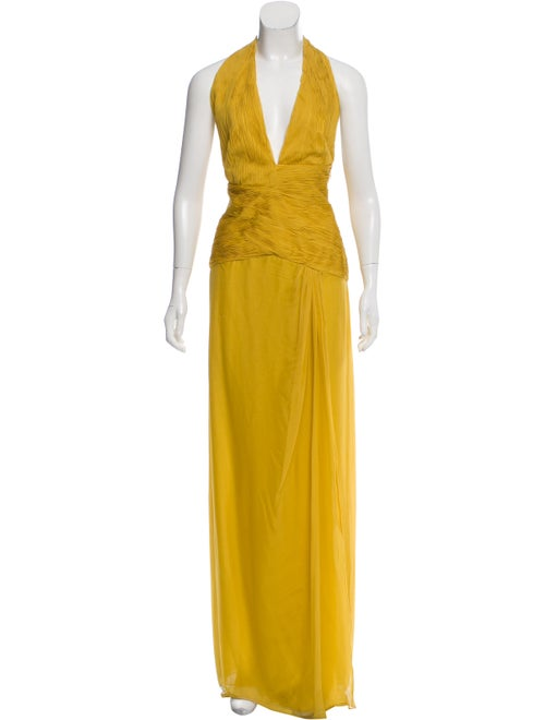 Valentino Silk Plissé Gown Yellow
