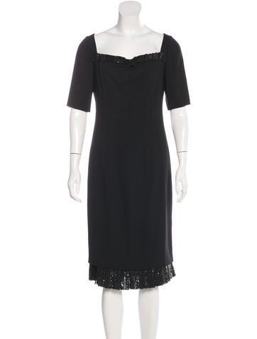 Valentino Sequin-Embellished Virgin Wool Dress None