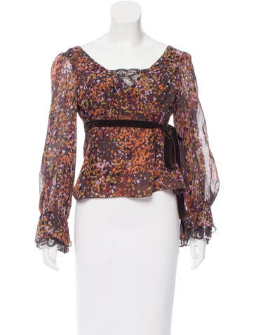Valentino Lace-Trimmed Printed Top None