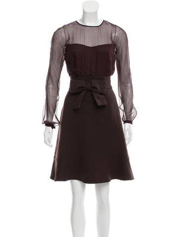 Valentino Silk & Wool-Paneled A-Line Dress None
