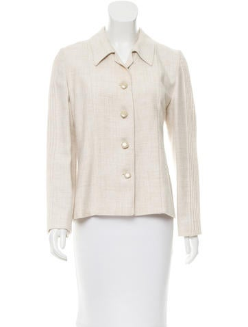 Valentino Pleated Button-Up Jacket None