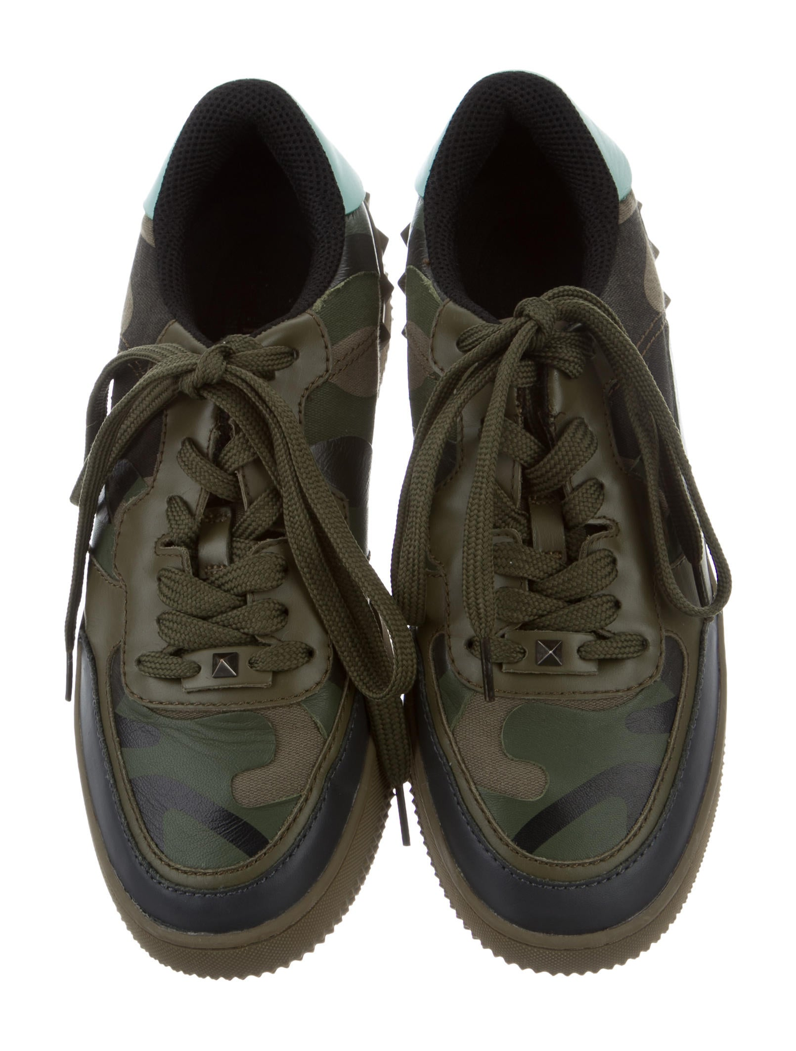 valentino camouflage rockstud sneakers shoes val60457 the realreal. Black Bedroom Furniture Sets. Home Design Ideas