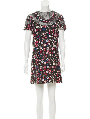 Valentino Wool Lace-Trimmed Dress None