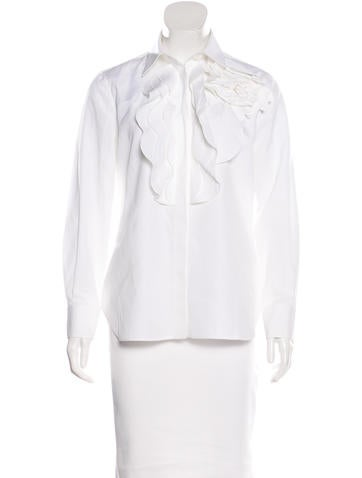 Valentino Ruffle-Accented Button-Up Top None