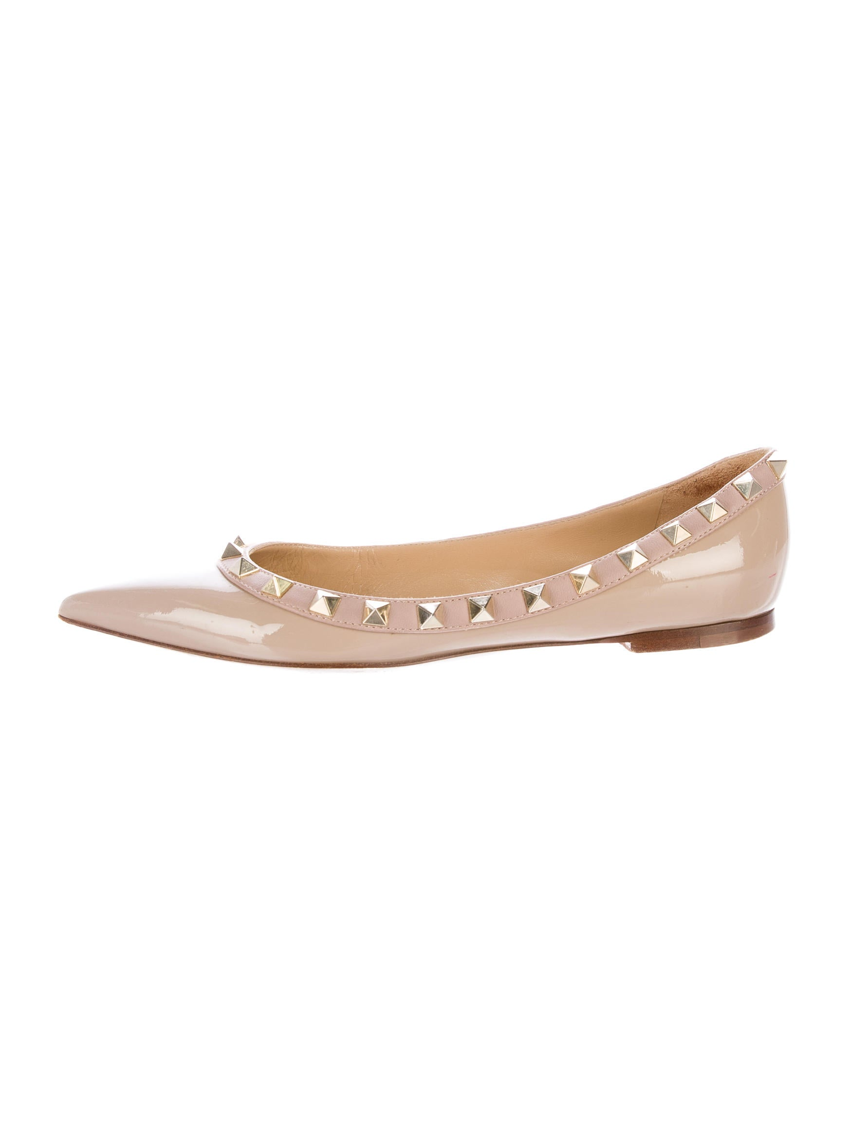 valentino rockstud patent leather flats shoes val60770