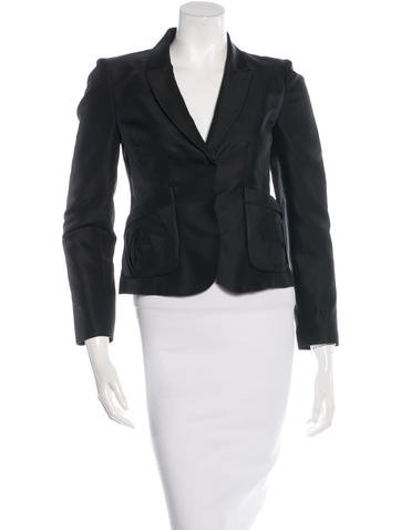 Valentino Silk Notch-Lapel Blazer None