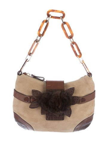 Valentino Fur-Trimmed Suede Shoulder Bag None