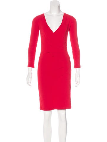 Valentino Virgin Wool V-Neck Dress None