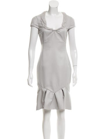 Valentino Silk-Trimmed Wool Dress None