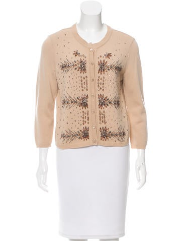 Valentino Cashmere-Blend Embellished Cardigan w/ Tags None