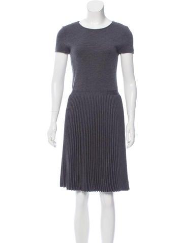 Valentino Wool Pleated Dress None
