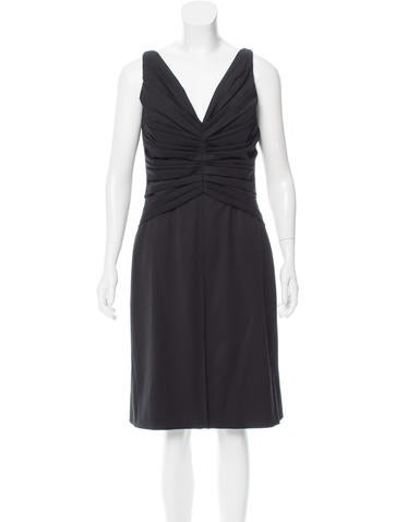 Valentino Ruched Wool Dress None