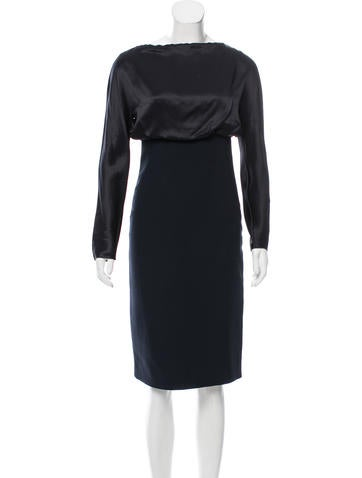 Valentino Silk Accented Wool Dress None