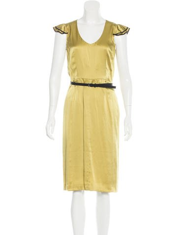 Valentino Belted Silk Dress w/ Tags None