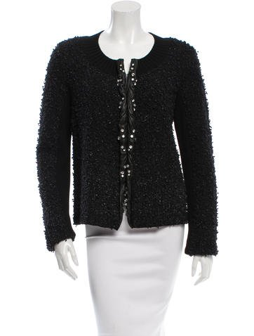 Valentino Embellished Leather-Trimmed Sweater w/ Tags None