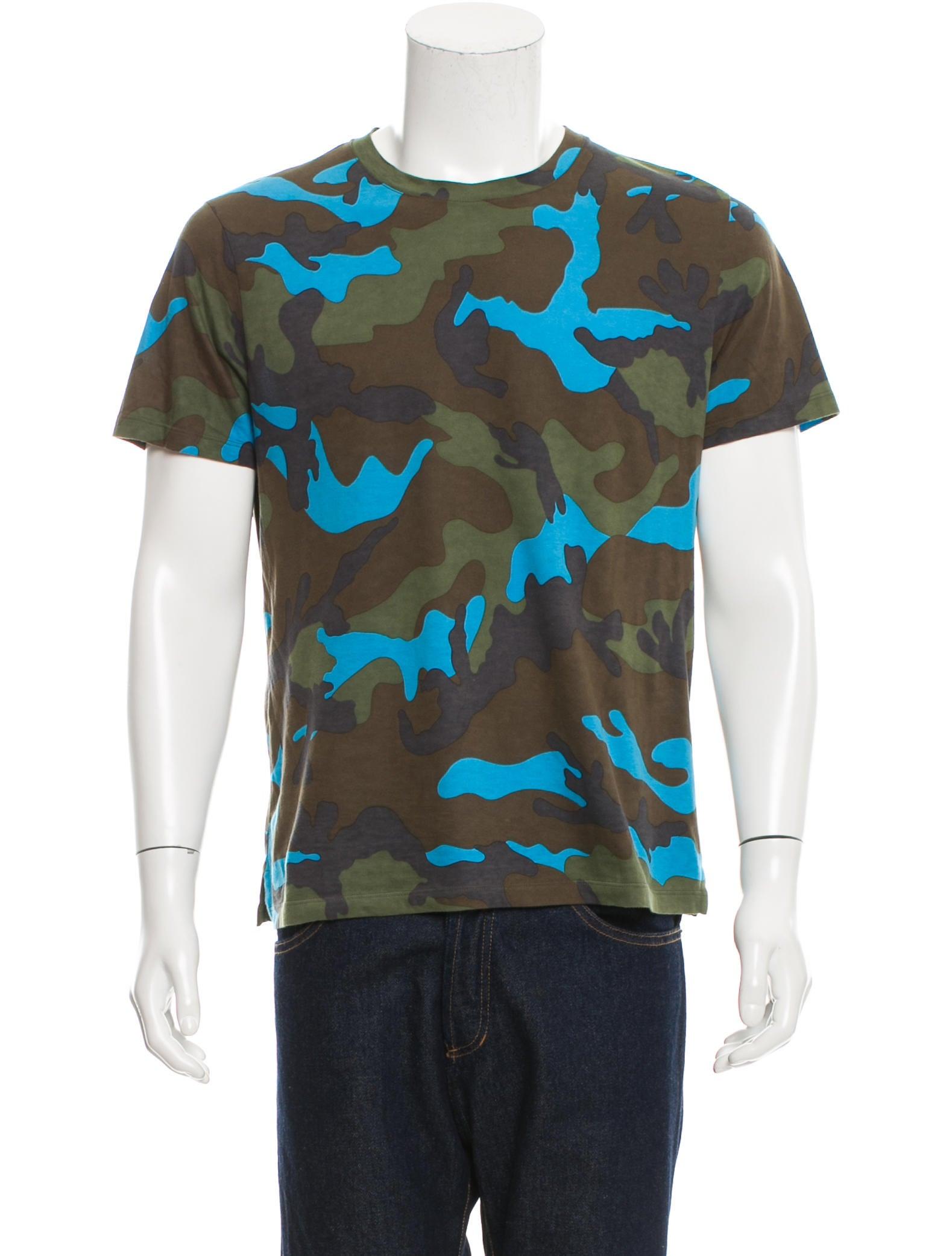 Valentino Camouflage Rockstud T Shirt Clothing