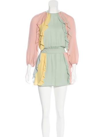 Valentino Silk Ruffle-Trimmed Dress None